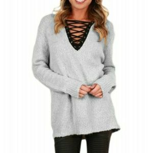 NWT Lace Vneck Sweater